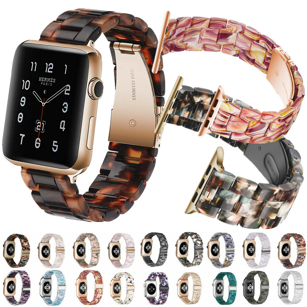 Replacement Resin Tortoise Shell Lines Watch Strap Bracelet For Apple Watch Series 5/4/3/2/1 42mm 44mm 38 & 40mm Leopard Print