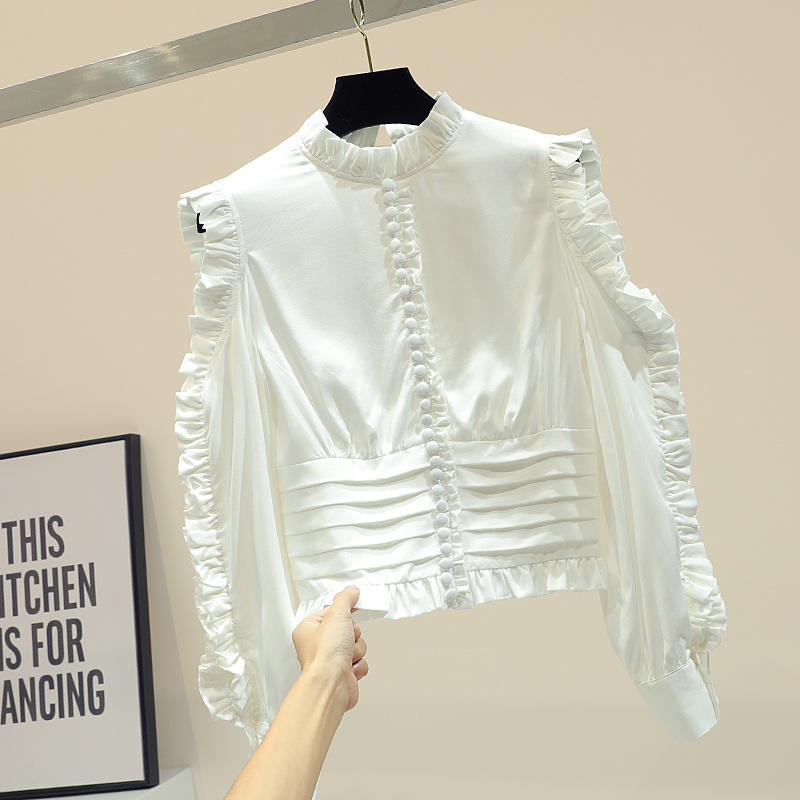Chemise à manches longues courtes femme 2019 automne nouvelle version coréenne lâche oreille en bois blouses blanches chemise sans bretelles creuse mode