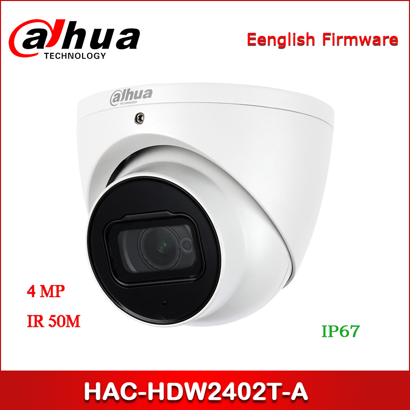 Dahua HAC-HDW2402T-A 4MP Starlight+ HDCVI IR Eyeball Camera Audio In Interface, Built-in Mic CCTV Camera