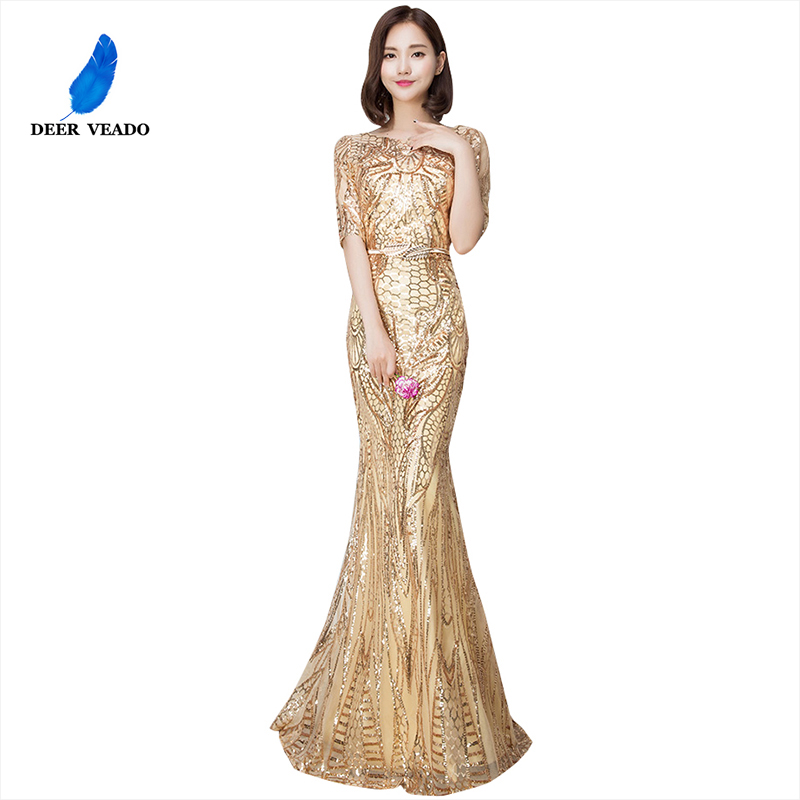 DEERVEADO 2019 Sexy Mermaid Evening Dress Half Sleeves Golden Evening Dresses Long Formal Party Gown Vestido De Festa M216