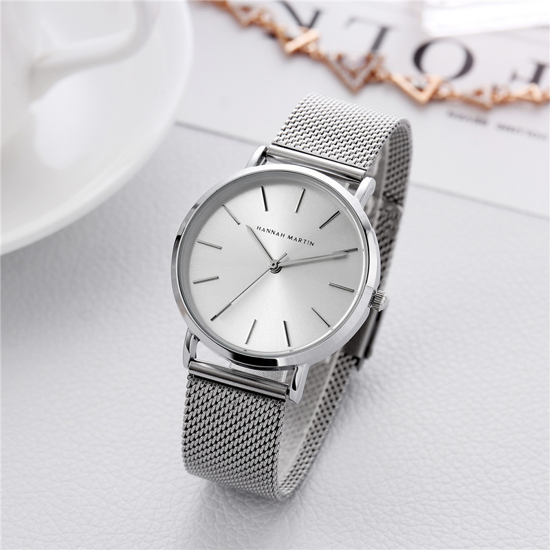 Hannah Martin Brand Luxury Watch Women Simple Design High Quality Ladies Watches Stainless Steel Mesh Band Female Clock Relogio