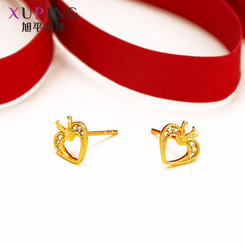 Ferry gold color creative love zirconium female earrings fashion simple ladies earrings