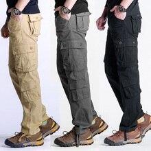 MIXCUBIC тактические мужские прямые брюки мульти-карман Мешковатые комбинезоны Мужская одежда-стойкие брюки карго для мужчин, большой размер 44