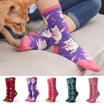 Hot Sale Colorful Women's Cotton Crew Socks Funny Peach Cat Animal Pattern Creative Ladies Novelty Socks For Gifts