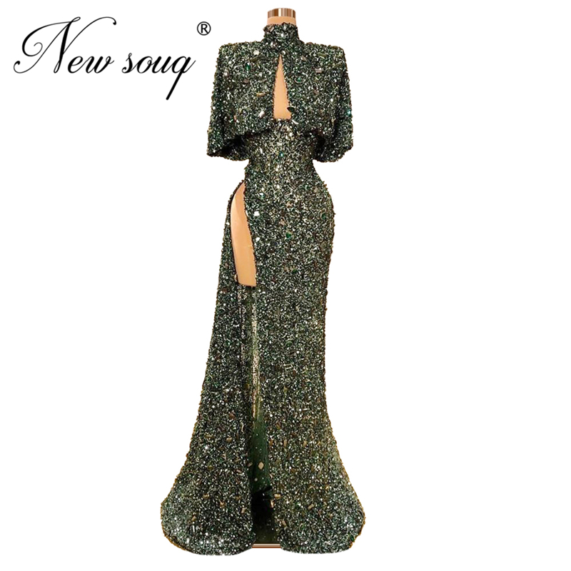 Sparkly Fabric High Split Side Prom Dresses Kaftan Dubai Arabic Party Gowns Robe De Soiree Abendkleider New Custom Glitter 2020