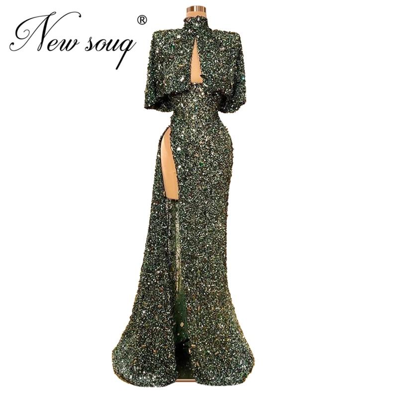 Sparkly Fabric High Split Side Prom Dresses Kaftan Dubai Arabic Party Gowns Robe De Soiree Abendkleider New Custom Glitter 2020