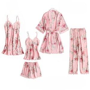 Image 5 - 5 шт. пижамный комплект для сна женская ночная рубашка с V образным вырезом кружевная Пижама пикантная ночная рубашка халат домашний костюм неглиже весенний Халат
