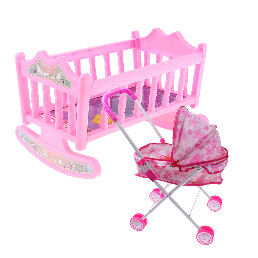 Cradle Baby Doll Bed and Stroller for Reborn Girl Doll Accessory Kids Toy