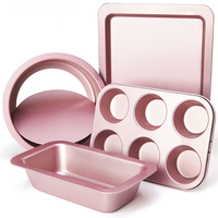 CHEFMADE Novice Baking Tool 25 Sets Muffin Toast Biscuit Cake Bread Pizza Mold Oven Pink Molds Bakeware Sets Cake Pan Baking Set