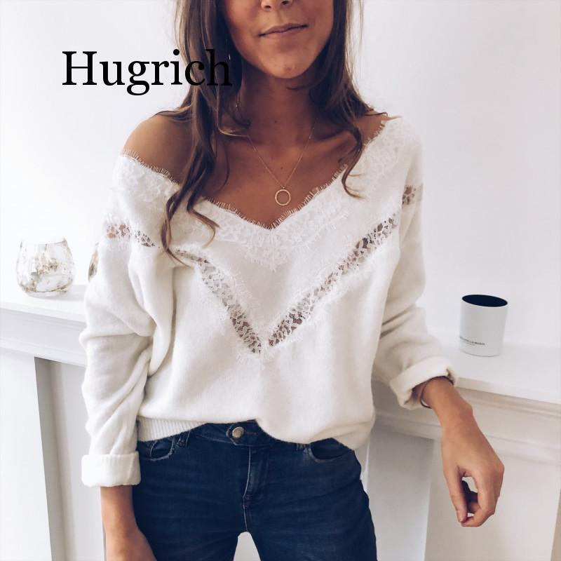 2020 Sexy Low Cut Lace Patchwork White Long Sleve Women Blouse Sexy Tops and Blouse Fall Tops Women