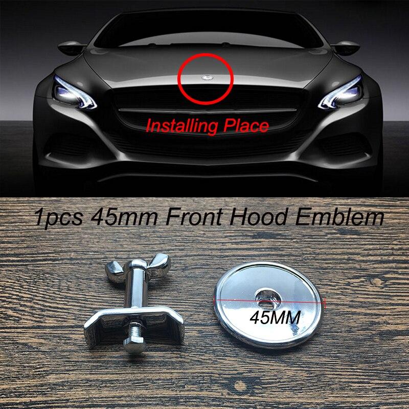 1 stücke 45MM 4,5 cm Chrome Silbrig Auto Kopf Haube Emblem Abzeichen Abdeckungen Blau weizen/B/Stern aufkleber für w202 w203 w204 w205 w212