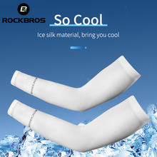 ROCKBROS Ice Silk Arm Sleeves Cycling Arm Warmers Sun Protection UV Mangas Running Sports Basketball Volleyball Cool Arm Sleeves