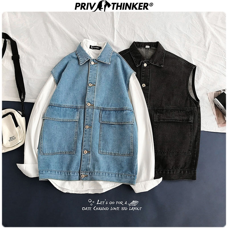 Privathinker Men Spring Cargo Hip Hop Casual Denim Jackets 2020 Mens Sleeveless Fashion Denim Jacket Clothes Male Coat Oversize