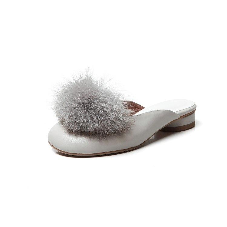 Kmeioo doux chaussures femme bout rond bas talons flous mules femmes sans lacet mule sandales talon bas mule glisse pantoufles