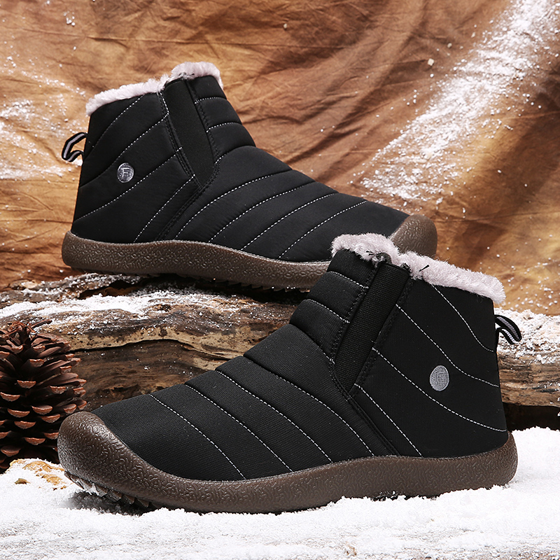Image 5 - Cork New Men Hiking Shoes Winter Snow Boot Winter Warm Fur Snow Sneakers Unisex Outdoor Botas Hombre Ankle Trainers Gym Slip Ons-in Snow Boots from Shoes