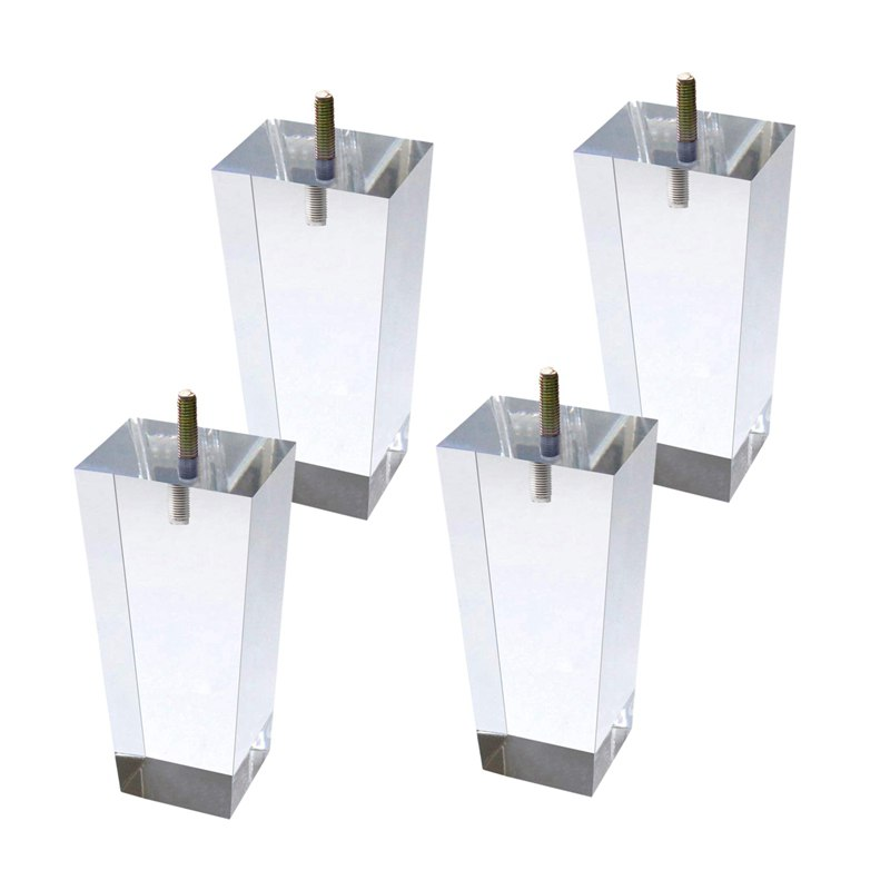 4Pcs/Set 120mm Acrylic Furniture DIY Legs Clear Glass Bookcase Feet For Coffee Table End Tables Sideboard Buffets Footstool Cabi
