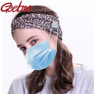 Geebro, turbante liso de mujer, cintas elásticas para el cabello, botón a la moda, soporte para mascarilla facial, gancho de protección para la oreja, prevención del dolor de oreja