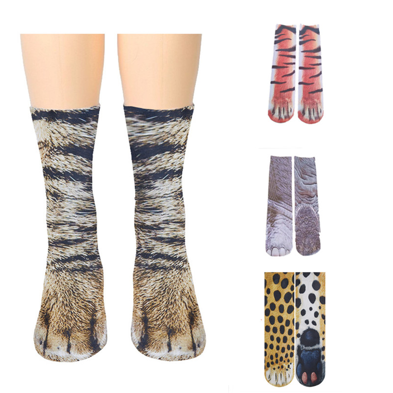1Pair 3D Animals Print Socks Unisex Crew Long Socks Soft Casual Cute Cotton Socks Children Dog Leopard Elephant Tiger Cat Paw