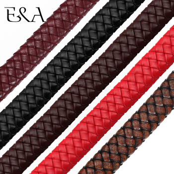 12*6mm Flat Square Leather Rope Braided Uninterrupted Cord For DIY Men Bracelet Jewelry Craft Making Accessories Wholesale