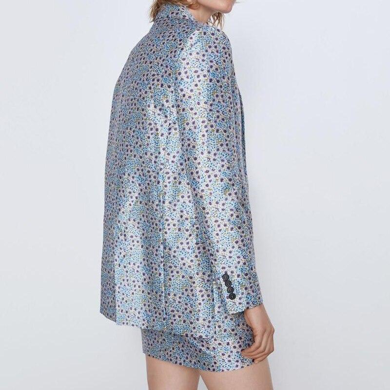 Fashion Floral Print Women Blazer Jacket 2020 New Two piece set High waist A-line skirt Girl loose jacket Elegant INKEO 9O023