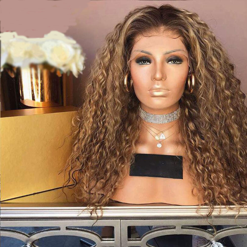 Kinky Curly Transparent Lace Front Wig 13*4 Ombre Blonde Colored Brazilian Remy Preplucked  Glueless Baby Hair For Women