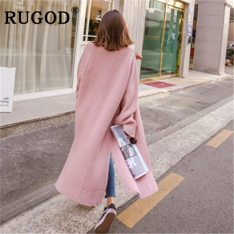 RUGOD Korean loose Cardigan sweater women Fashion long style split knitted office lady Cardigans Vintage solid auturm warm coat in Cardigans from Women 39 s Clothing
