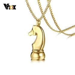 Vnox Gold Tone International Chess Pendant for Women Men Hand Polish Stainless Steel Necklace Casual Game Lover Ornaments