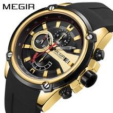 купить Fashion MEGIR Watch New  Silicone Waterproof shookproof Watches Men Wrist Luxury Quartz Chronograph Wristwatches по цене 1101.37 рублей