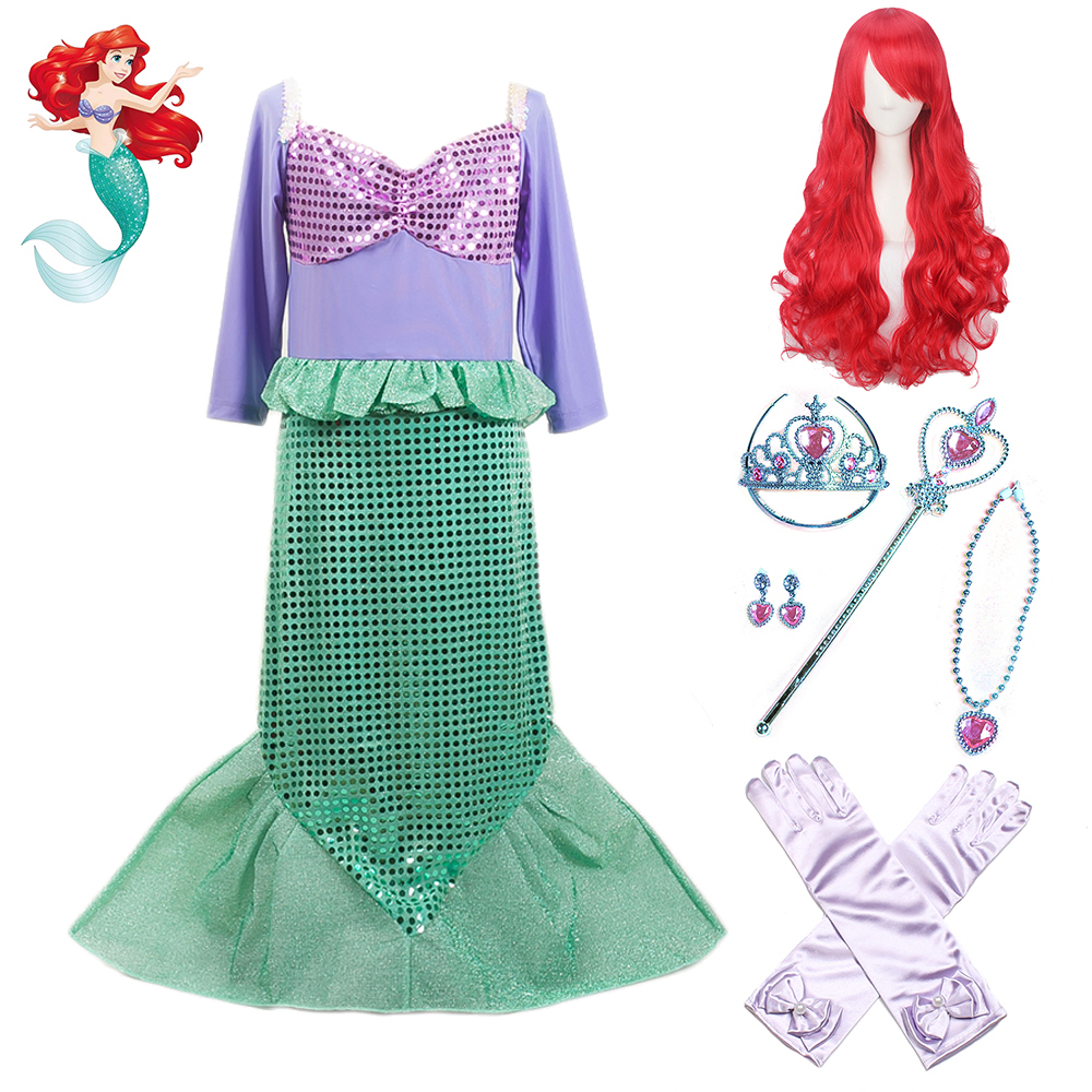 Little Girls Mermaid Princess Ariel Kids Dresses For Girls Halloween Christmas Party Cosplay Costume Long Sleeves Clothes