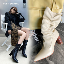 Fashion Sexy Folds Boots High Heels Genuine Leather Solid Color Woman 2020 Winter New Concise Design Madam Shoes Calzado Mujer