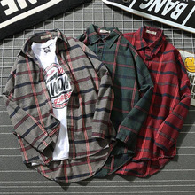 Men Shirt Student 2019 New Arrival Spring And Autumn Retro Plaid Long Sleeve Male Teenage Boy Japanese Style S11