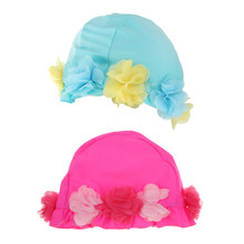 2Pcs Girls Kids Swimming Caps Polyester Bathing Caps Hat High Elastic Nylon Fabric Rose&Blue(China)