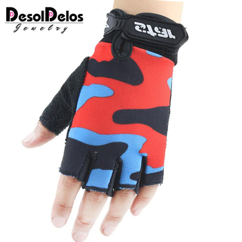 DesolDelos Fingerless Gloves Parent-child Half Finger Mitten Elastic Camouflage Men Women Kids Sport Not Slip Guante S-XXL