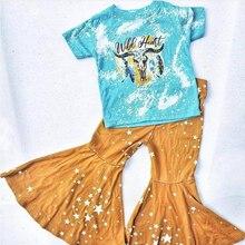 Outono inverno do bebê da menina menino cabeça da vaca roupas recém-nascidos conjuntos boutique outfit estrela sino calças crianças roupas