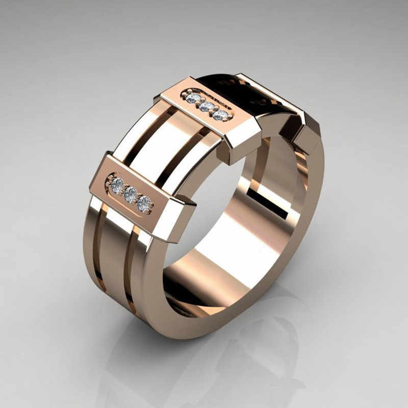 Rose Gold Farbe CZ Stein Hochzeit Ring für Frau Neue Design 925 Silber Hohl Mode Mann Punk Schmuck Geschenke