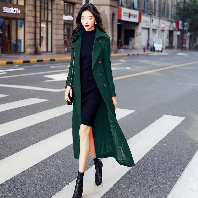 Autumn Winter New Full Sleeve Thick Warm Fashion Green Coats Women Long Woolen Coat Plus Size