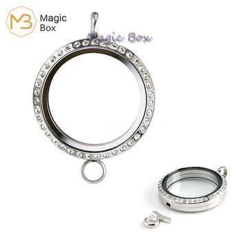 Glass Necklace Silver 316L Stainless Steel Men's Pendant Magnetic Floating Small Box Personality initial Pendant Female Jewelry