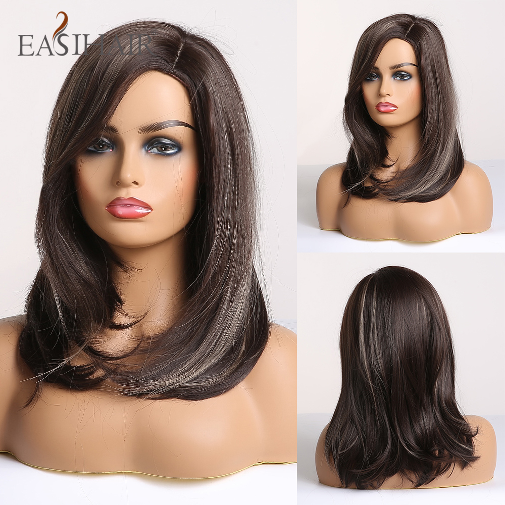 EASIHAIR Dark Brown Omber Natural Straight Synthetic Wigs for Women Medium Length Bob Wigs with Side Bangs Heat Resistant Wigs
