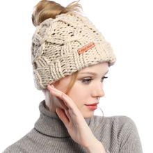 2019 New  Ponytail Beanie Hat Women Messy Bun Knit Beanie Hat Autumn Winter Skullies Beanies Caps Female Knit Warm Hat все цены