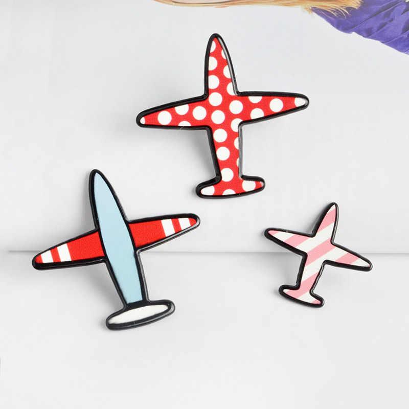 3 יח'\סט קריקטורה נקודת פס מטוסים אמייל פין מצחיק מטוס סיכת מתכת דש סיכות תכשיטי מתנה לילדים חברים