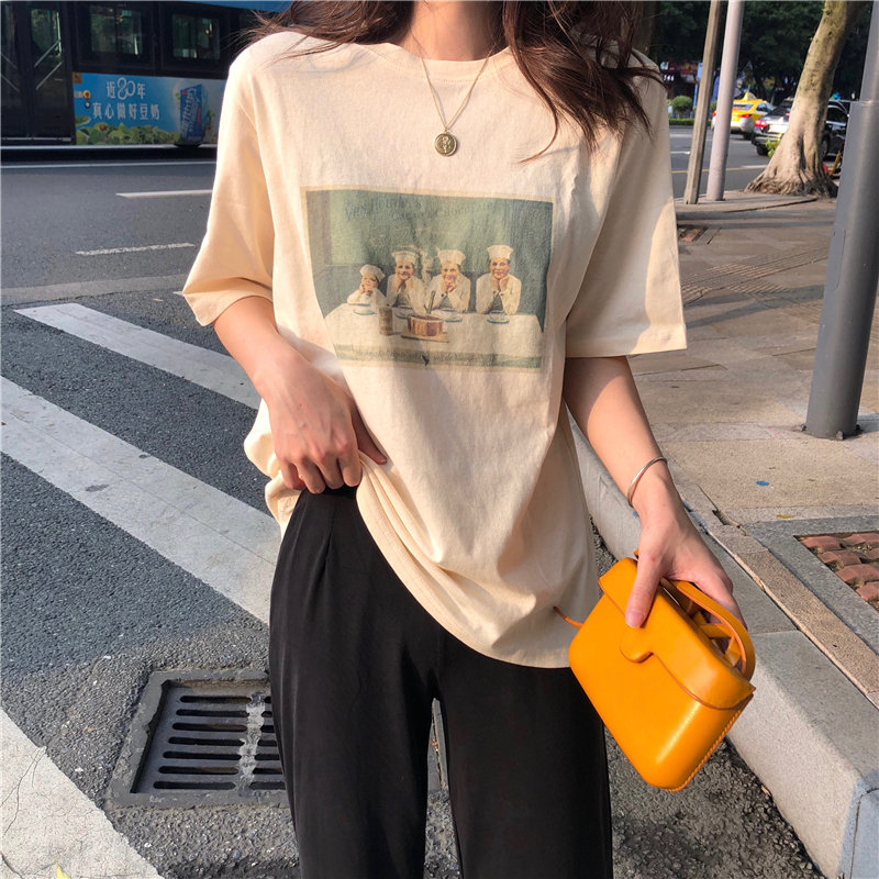 Alien Kitty Hot Fashion Vintage Summer Women Print Cotton Students Basic 2020 Chic All-Match Loose Casual Short-Sleeved T-shirts