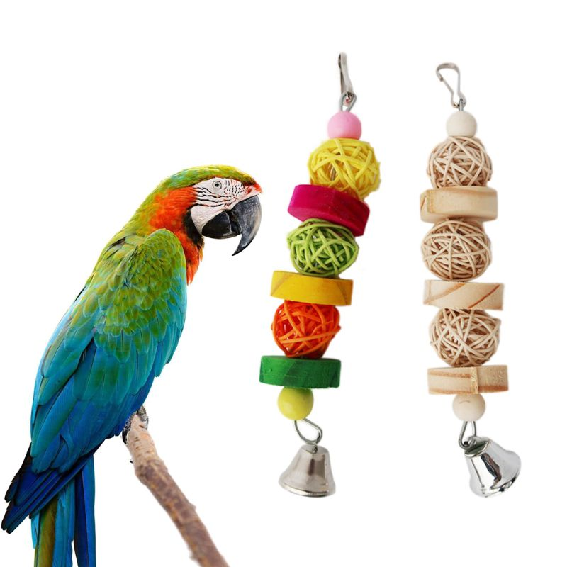 Birds Parrot Chew Strands Wooden Toy Bird Parakeet Bite Molar Toys Rattan Ball Bird Supplies C42