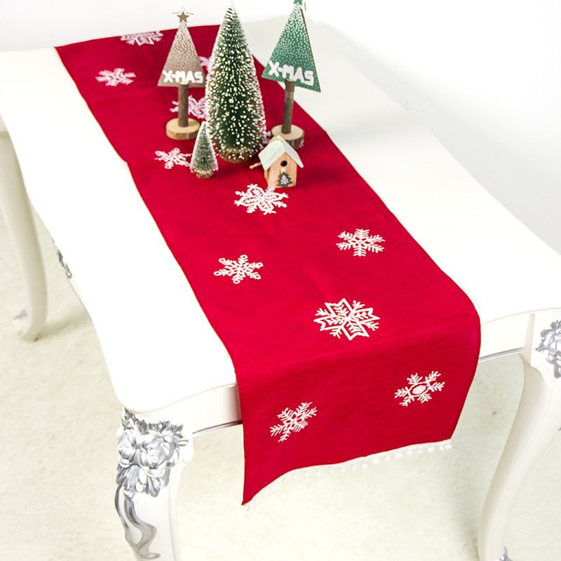 Christmas Table Cloth Cover Kitchen Desk Embroidered Runner Home Decoration Anti-Dust Living Room Dining Tablecloth