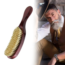 High Quality Hog Hair Beard Oil Brush Wooden Curved Handle Scalp Massage Comb Professional Styling