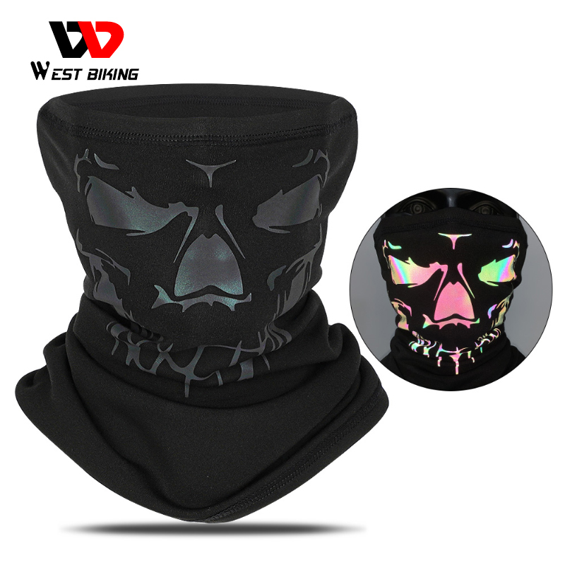 WEST BIKING Winter Cycling Half Face Mask Breathable Warm Sports Headwear Reflective 3D Printed Bike Headband Protection Scarf