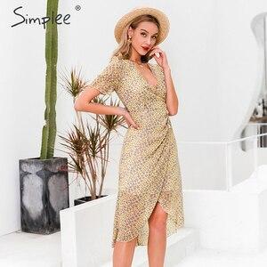 Image 3 - Simplee 플로랄 프린트 여성 드레스 짧은 소매 단추 높은 허리 여름 드레스 숙녀 v 목 boho 비치웨어 bodycon 드레스 2020