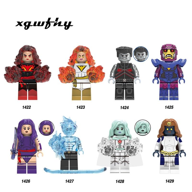 NEW Super Heroes X-Men Dark Phoenix Colossus Sentinel Psylocke Iceman White Queen Mystique Buidling Blocks Child Toys X0277