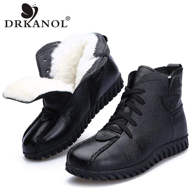 DRKANOL/2019 г.; женские зимние ботинки; зимняя теплая обувь; ботильоны для женщин из натуральной кожи на толстой шерсти; меховые ботинки на плоской подошве; женские ботинки-in Теплые сапоги from Обувь