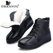 DRKANOL 2020 النساء الثلوج أحذية الشتاء أحذية دافئة جلد طبيعي سميكة الصوف حذاء من الجلد للنساء الفراء حذاء مسطح الإناث H8775