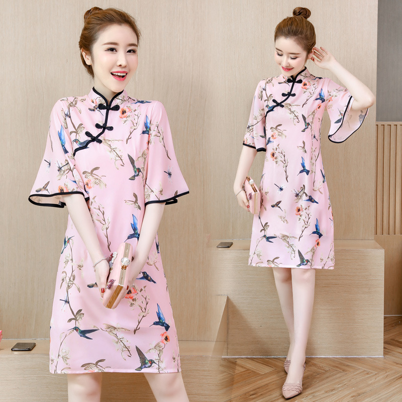 2019 Spring And Summer New Style GIRL'S Modern Young Fresh Ladies' Short Graceful Improved Cheongsam Dress